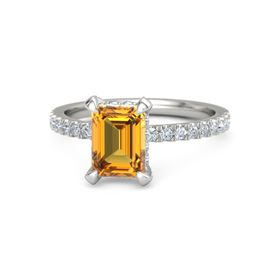 Emerald-Cut Citrine Platinum Ring with Diamond