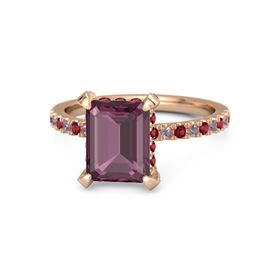 Emerald Rhodolite Garnet 14K Rose Gold Ring with Ruby and Rhodolite Garnet