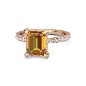 Emerald Citrine 14K Rose Gold Ring with White Sapphire