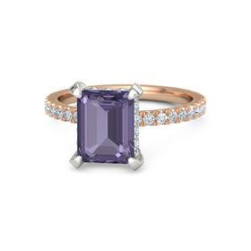 Emerald Iolite 14K Rose Gold Ring with Diamond
