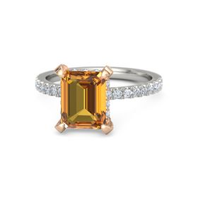 Emerald-Cut Citrine 14K White Gold Ring with Diamond