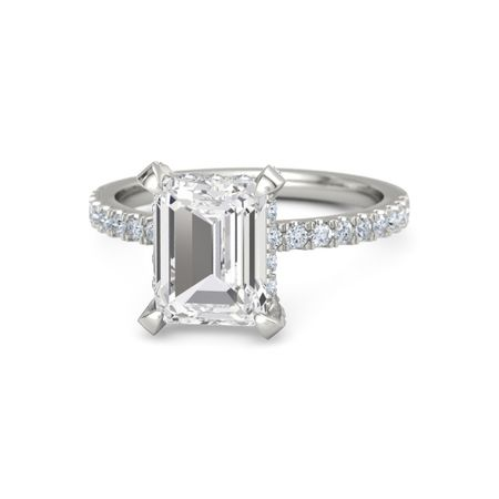 emerald cut white sapphire 14k white gold ring with