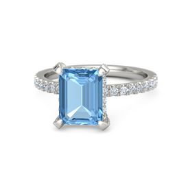 Emerald Blue Topaz 14K White Gold Ring with Diamond