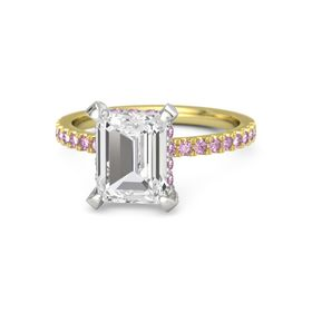 Emerald White Sapphire 14K Yellow Gold Ring with Pink Sapphire