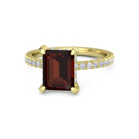 Emerald-Cut Red Garnet 14K Yellow Gold Ring with Diamond