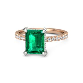 Emerald-Cut Emerald 18K Rose Gold Ring with White Sapphire