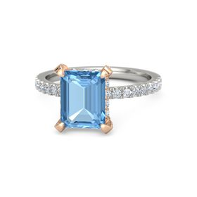 Emerald-Cut Blue Topaz Palladium Ring with Diamond