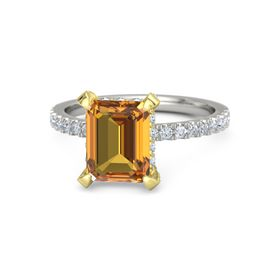 Emerald-Cut Citrine Palladium Ring with Diamond