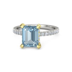 Emerald-Cut Aquamarine Palladium Ring with Diamond