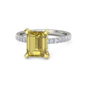 Emerald-Cut Yellow Sapphire Palladium Ring with Diamond