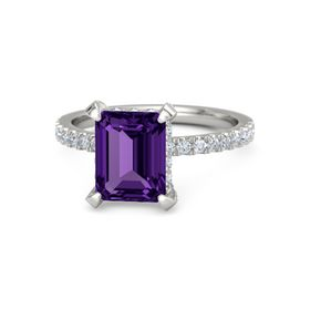 Emerald Amethyst Palladium Ring with Diamond