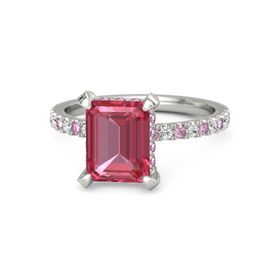 Emerald Pink Tourmaline Platinum Ring with Pink Sapphire and White Sapphire