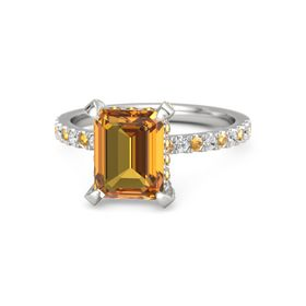Emerald Citrine Sterling Silver Ring with Citrine and White Sapphire