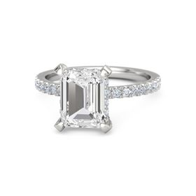 Emerald-Cut White Sapphire Sterling Silver Ring with Diamond