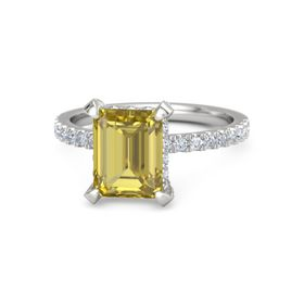Emerald-Cut Yellow Sapphire Sterling Silver Ring with Diamond