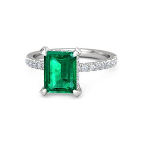 Emerald Emerald Sterling Silver Ring with Diamond