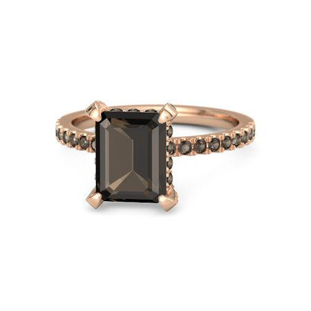 b7ad6e2da Emerald Smoky Quartz 14K Rose Gold Ring with Smoky Quartz | Carrie ...