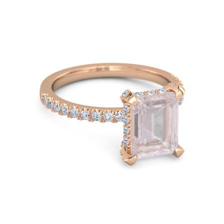257117556 Emerald Rose Quartz 14K Rose Gold Ring with Diamond | Carrie Ring ...
