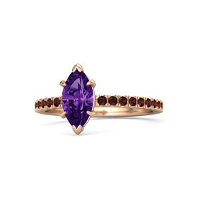 Marquise Amethyst 14K Rose Gold Ring with Red Garnet