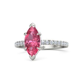 Marquise Pink Tourmaline 14K White Gold Ring with Diamond