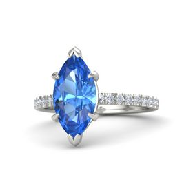 Marquise Blue Topaz 14K White Gold Ring with Diamond