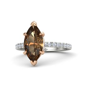 Marquise Smoky Quartz Platinum Ring with Diamond
