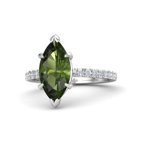 Marquise Green Tourmaline Sterling Silver Ring with Diamond