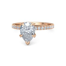Pear Diamond 14K Rose Gold Ring with Diamond