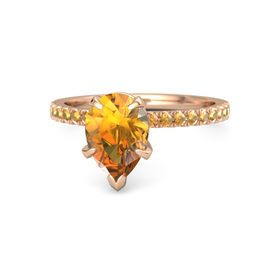 Pear Citrine 14K Rose Gold Ring with Citrine