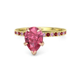Pear Pink Tourmaline 18K Yellow Gold Ring with Pink Tourmaline and Ruby