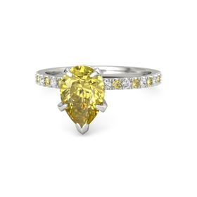 Pear Yellow Sapphire Palladium Ring with White Sapphire & Yellow Sapphire