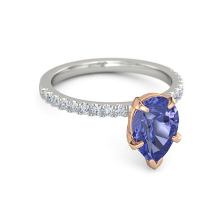 13ee891be9056 Pear-Cut Candace Ring (10mm gem) - Pear Tanzanite Palladium Ring with  Diamond