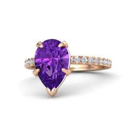Pear Amethyst 14K Rose Gold Ring with Diamond