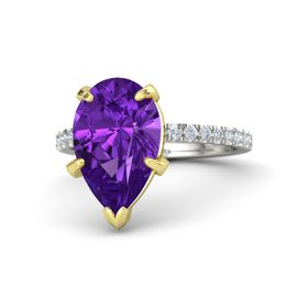 Pear Amethyst Platinum Ring with Diamond