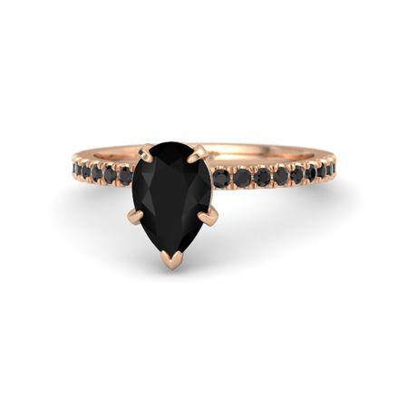 Pear Black Onyx 14k Rose Gold Ring With Black Diamond Candace Ring Gemvara