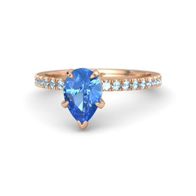 Pear Blue Topaz 14K Rose Gold Ring with Aquamarine