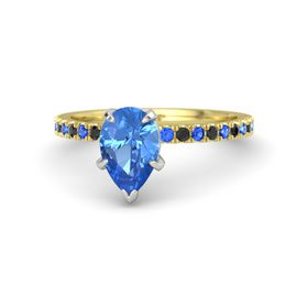 Pear Blue Topaz 14K Yellow Gold Ring with Blue Sapphire and Black Diamond