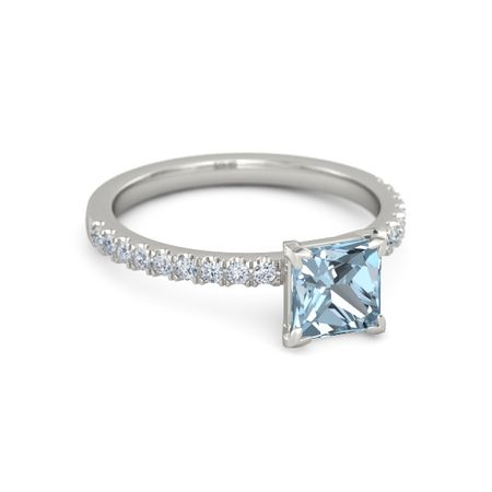 princess aquamarine 14k white gold ring with