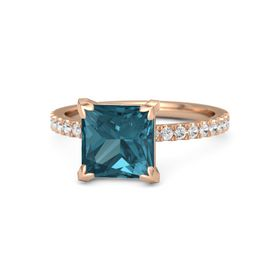 Princess London Blue Topaz 14K Rose Gold Ring with White Sapphire
