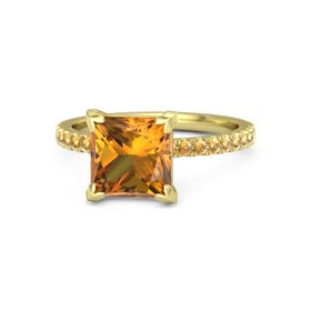 Princess Citrine 18K Yellow Gold Ring with Citrine