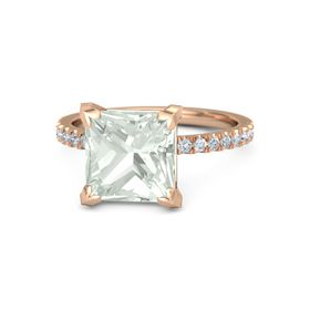Princess Green Amethyst 14K Rose Gold Ring with Diamond
