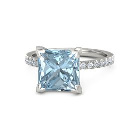 Princess Aquamarine Palladium Ring with Diamond