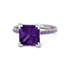 Princess Amethyst Sterling Silver Ring with Amethyst