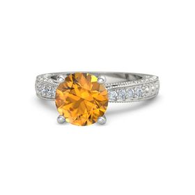Round Citrine 14K White Gold Ring with Diamond