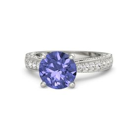 Round Tanzanite 14K White Gold Ring with Amethyst and White Sapphire