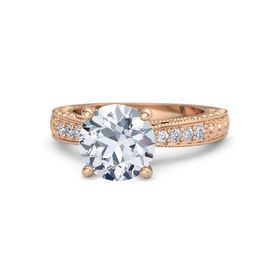 Round Diamond 18K Rose Gold Ring with Diamond