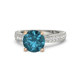 Round London Blue Topaz Palladium Ring with Iolite and White Sapphire