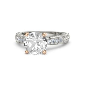 Round Rock Crystal Palladium Ring with Diamond