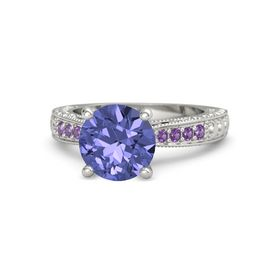 Round Tanzanite Palladium Ring with Amethyst