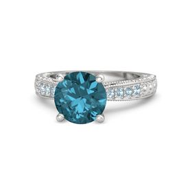 Round London Blue Topaz Sterling Silver Ring with Blue Sapphire and Aquamarine